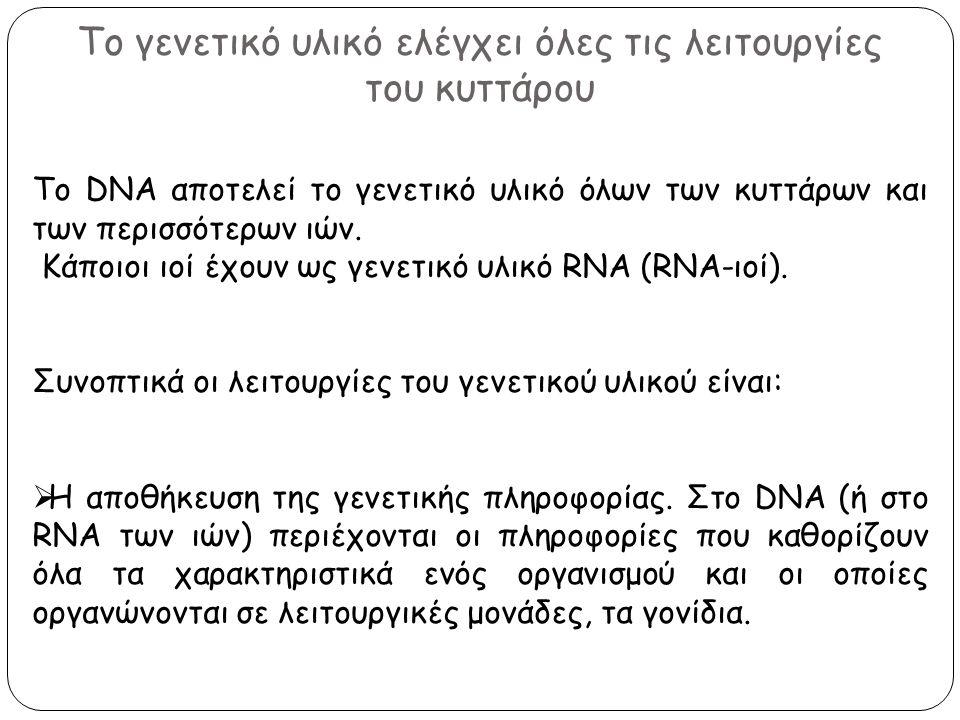 Το γενετικό υλικό ελέγχει όλες τις λειτουργίες του κυττάρου Το DNA αποτελεί το γενετικό υλικό όλων των κυττάρων και των περισσότερων ιών. Κάποιοι ιοί