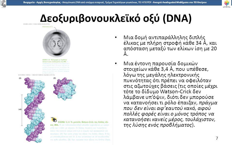7 Βιοχημεία - Αρχές Βιοτεχνολογίας - Απομόνωση DNA από σπέρμα σιταριού, Τμήμα Τεχνολόγων γεωπόνων, ΤΕΙ ΗΠΕΙΡΟΥ - Ανοιχτά Ακαδημαϊκά Μαθήματα στο ΤΕΙ Ηπείρου Δεοξυριβονουκλεϊκό οξύ (DNA) Μια δομή αντιπαράλληλης διπλής έλικας με πλήρη στροφή κάθε 34 Å, και απόσταση μεταξύ των ελίκων ίση με 20 Å.