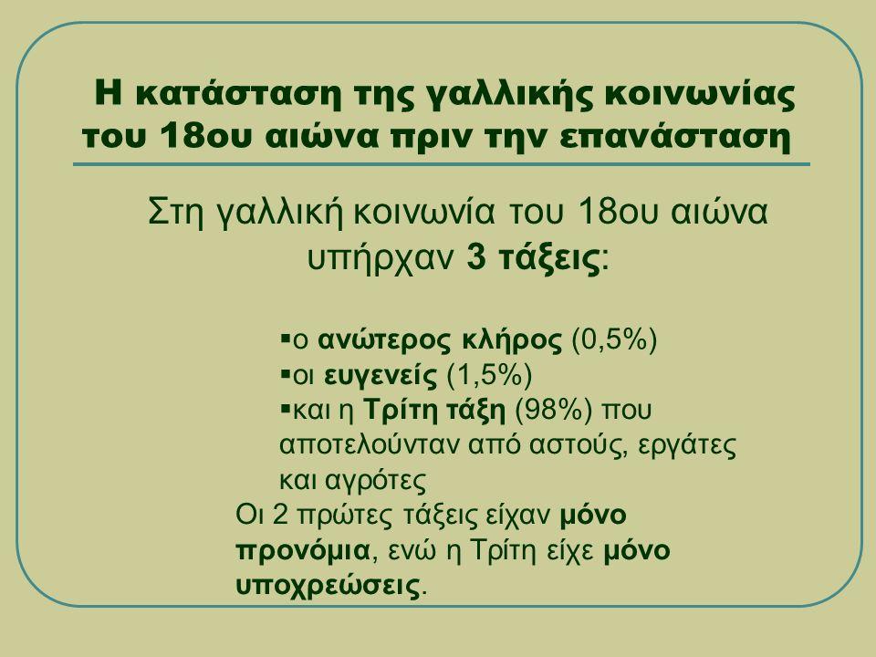 Η κατάσταση της γαλλικής κοινωνίας του 18ου αιώνα πριν την επανάσταση Στη γαλλική κοινωνία του 18ου αιώνα υπήρχαν 3 τάξεις:  ο ανώτερος κλήρος (0,5%)  οι ευγενείς (1,5%)  και η Τρίτη τάξη (98%) που αποτελούνταν από αστούς, εργάτες και αγρότες Οι 2 πρώτες τάξεις είχαν μόνο προνόμια, ενώ η Τρίτη είχε μόνο υποχρεώσεις.