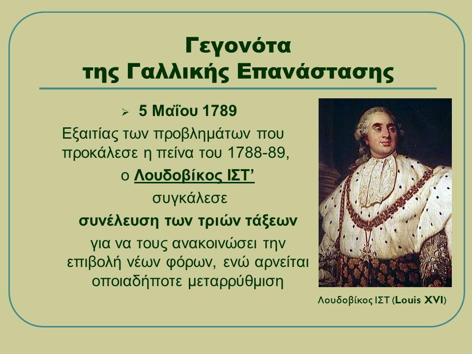 Γεγονότα της Γαλλικής Επανάστασης  5 Μαΐου 1789 Εξαιτίας των προβλημάτων που προκάλεσε η πείνα του 1788-89, ο Λουδοβίκος ΙΣΤ' συγκάλεσε συνέλευση των