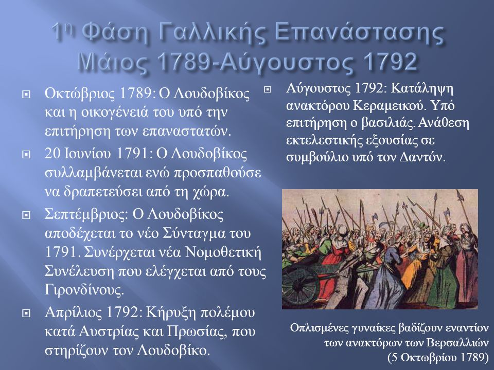 ΟΟκτώβριος 1789: Ο Λ ουδοβίκος και η ο ικογένειά τ ου υ πό τ ην επιτήρηση τ ων ε παναστατών.