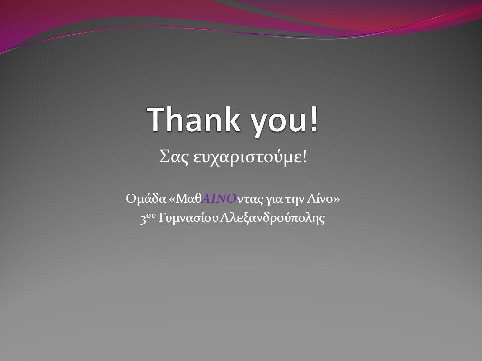 Σας ευχαριστούμε! Ομάδα «ΜαθΑΙΝΟντας για την Αίνο» 3 ου Γυμνασίου Αλεξανδρούπολης
