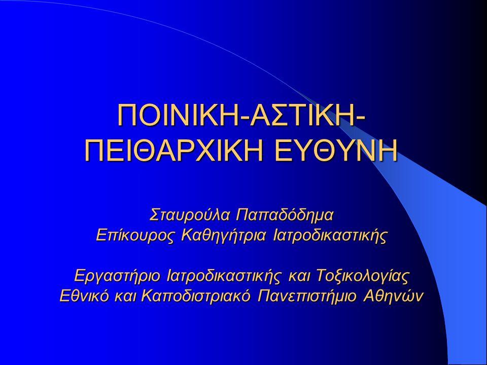 ΠΟΙΝΙΚΗ-ΑΣΤΙΚΗ- ΠΕΙΘΑΡΧΙΚΗ ΕΥΘΥΝΗ Σταυρούλα Παπαδόδημα Επίκουρος Καθηγήτρια Ιατροδικαστικής Εργαστήριο Ιατροδικαστικής και Τοξικολογίας Εθνικό και Καποδιστριακό Πανεπιστήμιο Αθηνών