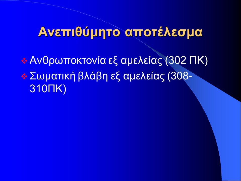 Ανεπιθύμητο αποτέλεσμα  Ανθρωποκτονία εξ αμελείας (302 ΠΚ)  Σωματική βλάβη εξ αμελείας (308- 310ΠΚ)