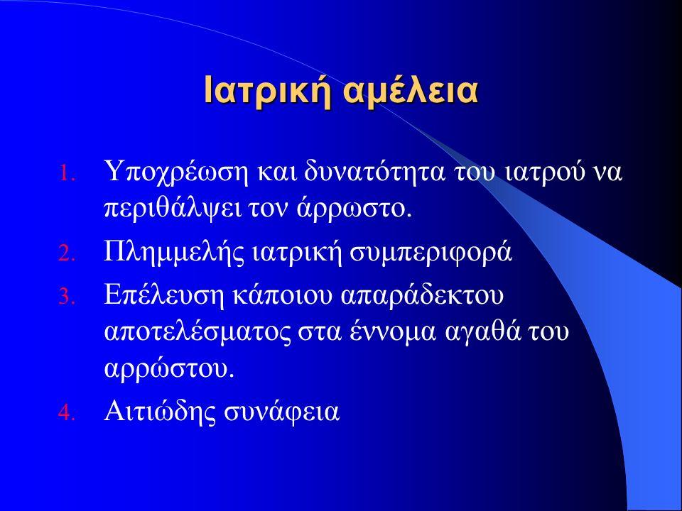 Ιατρική αμέλεια 1. Υποχρέωση και δυνατότητα του ιατρού να περιθάλψει τον άρρωστο.