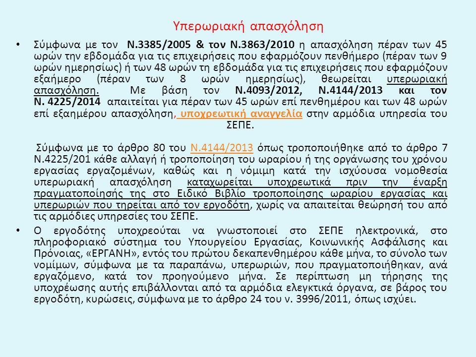 Υπερωριακή απασχόληση Σύμφωνα με τον Ν.3385/2005 & τον Ν.3863/2010 η απασχόληση πέραν των 45 ωρών την εβδομάδα για τις επιχειρήσεις που εφαρμόζουν πεν