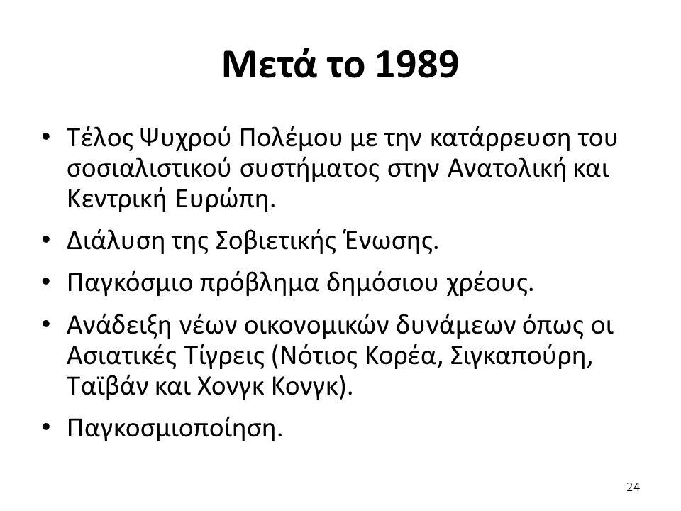Μετά το 1989 Τέλος Ψυχρού Πολέμου με την κατάρρευση του σοσιαλιστικού συστήματος στην Ανατολική και Κεντρική Ευρώπη.