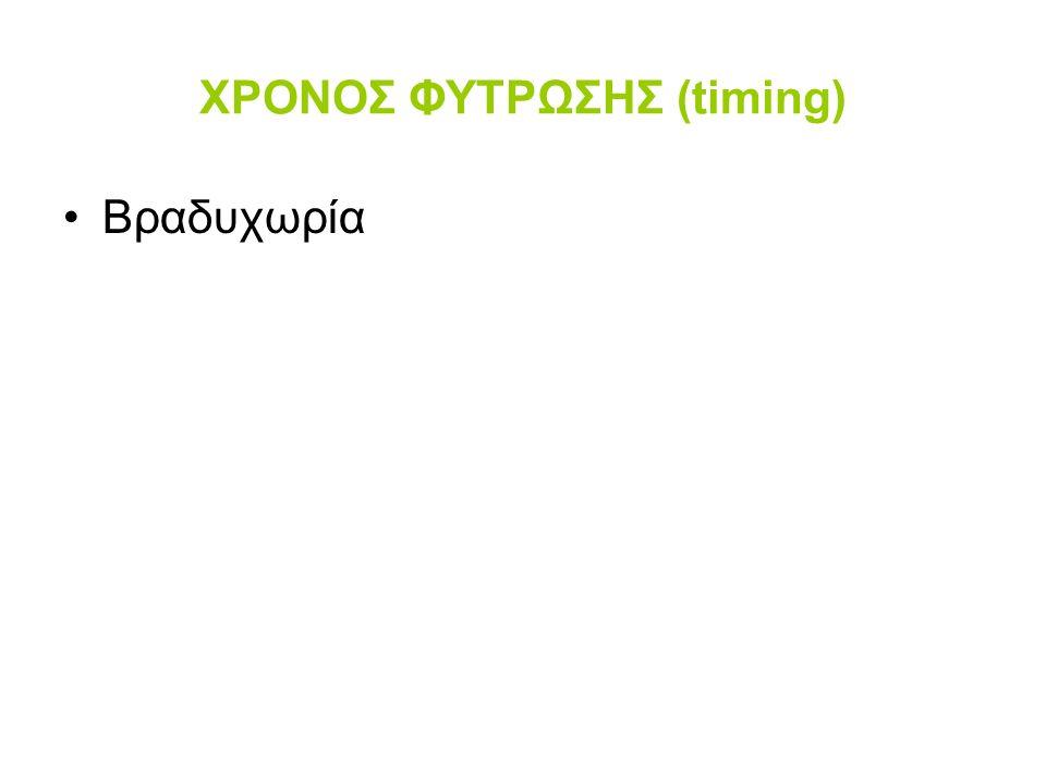 ΧΡΟΝΟΣ ΦΥΤΡΩΣΗΣ (timing) Βραδυχωρία