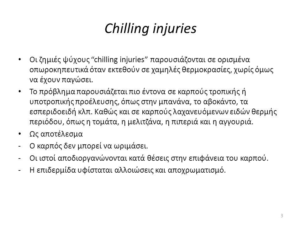 "Chilling injuries Οι ζημιές ψύχους ""chilling injuries"" παρουσιάζονται σε ορισμένα οπωροκηπευτικά όταν εκτεθούν σε χαμηλές θερμοκρασίες, χωρίς όμως να"