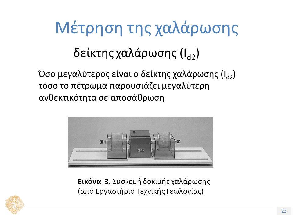22 Μέτρηση της χαλάρωσης δείκτης χαλάρωσης (I d2 ) Όσο μεγαλύτερος είναι ο δείκτης χαλάρωσης (I d2 ) τόσο το πέτρωμα παρουσιάζει μεγαλύτερη ανθεκτικότητα σε αποσάθρωση Εικόνα 3.