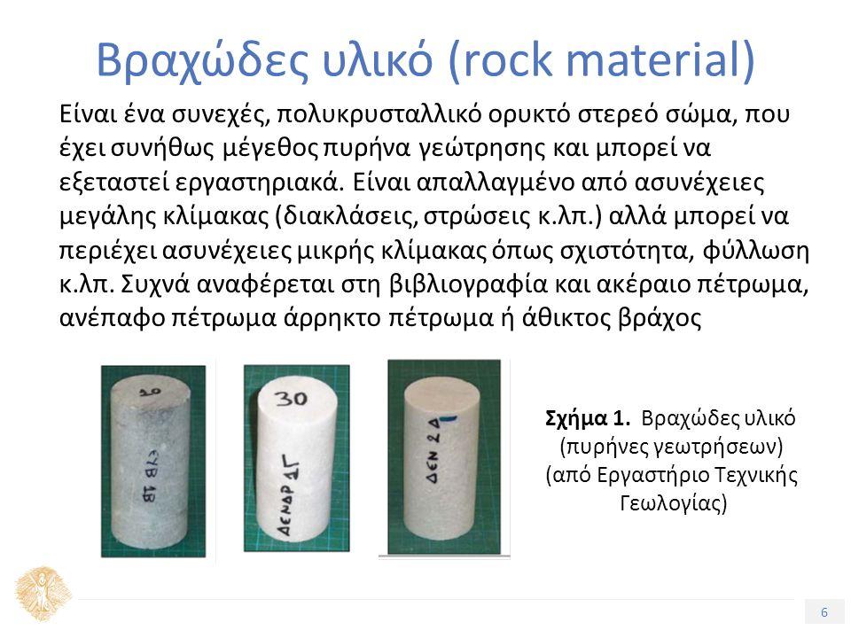 6 Βραχώδες υλικό (rock material) Eίναι ένα συνεχές, πολυκρυσταλλικό ορυκτό στερεό σώμα, που έχει συνήθως μέγεθος πυρήνα γεώτρησης και μπορεί να εξεταστεί εργαστηριακά.