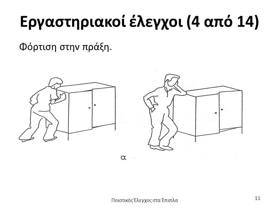Εργαστηριακοί έλεγχοι (4 από 14) Φόρτιση στην πράξη. Ποιοτικός Έλεγχος στα Έπιπλα 11