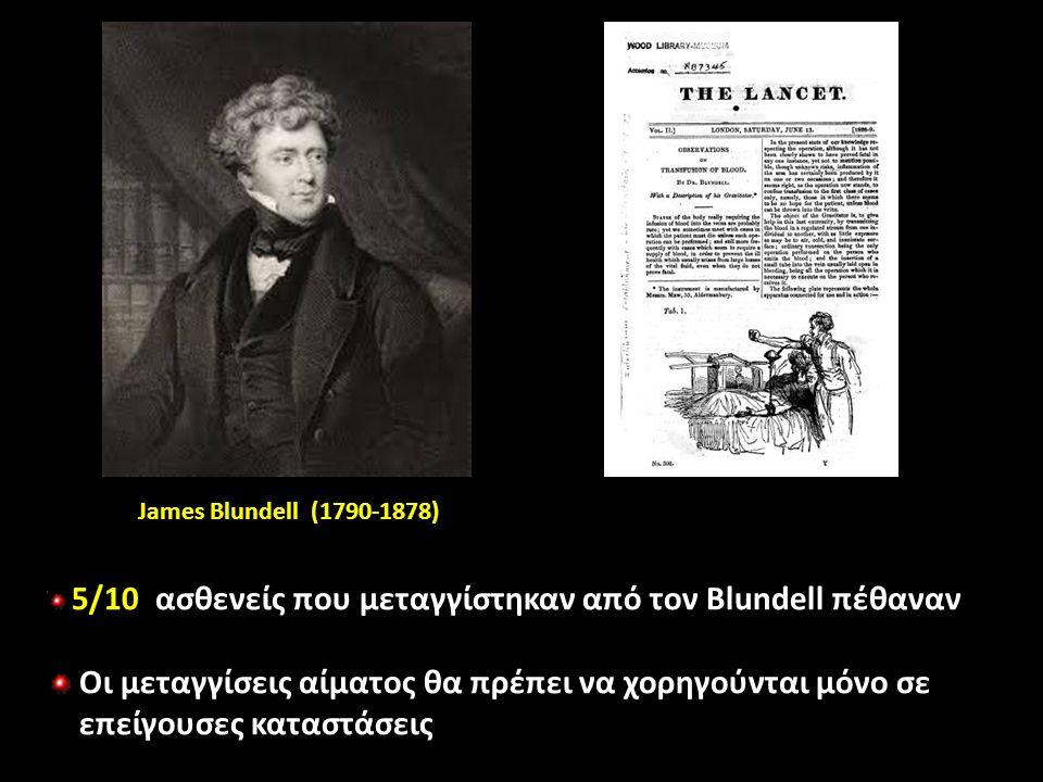 5/10 ασθενείς που μεταγγίστηκαν από τον Blundell πέθαναν Οι μεταγγίσεις αίματος θα πρέπει να χορηγούνται μόνο σε επείγουσες καταστάσεις James Blundell (1790-1878)