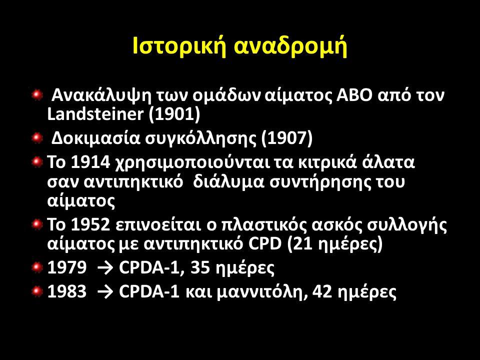 Ιστορική αναδρομή Ανακάλυψη των ομάδων αίματος ΑΒΟ από τον Landsteiner (1901) Δοκιμασία συγκόλλησης (1907) Το 1914 χρησιμοποιούνται τα κιτρικά άλατα σαν αντιπηκτικό διάλυμα συντήρησης του αίματος Το 1952 επινοείται ο πλαστικός ασκός συλλογής αίματος με αντιπηκτικό CPD (21 ημέρες) 1979 → CPDA-1, 35 ημέρες 1983 → CPDA-1 και μαννιτόλη, 42 ημέρες