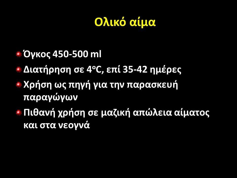 Ολικό αίμα Όγκος 450-500 ml Διατήρηση σε 4 ο C, επί 35-42 ημέρες Χρήση ως πηγή για την παρασκευή παραγώγων Πιθανή χρήση σε μαζική απώλεια αίματος και στα νεογνά