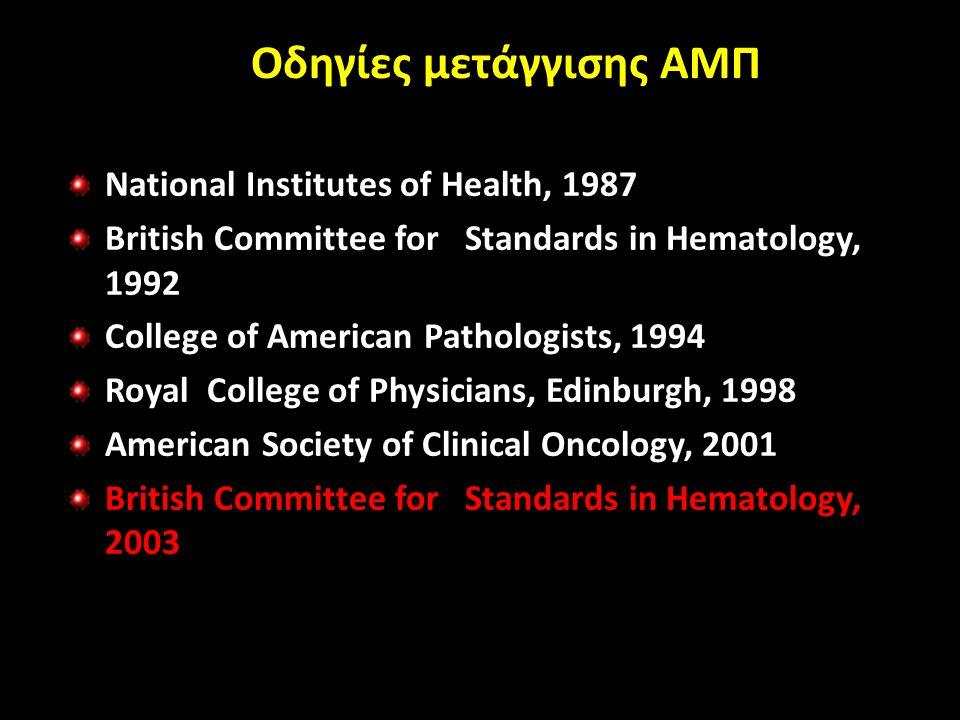 Οδηγίες μετάγγισης ΑΜΠ National Institutes of Health, 1987 British Committee for Standards in Hematology, 1992 College of American Pathologists, 1994 Royal College of Physicians, Edinburgh, 1998 American Society of Clinical Oncology, 2001 British Committee for Standards in Hematology, 2003
