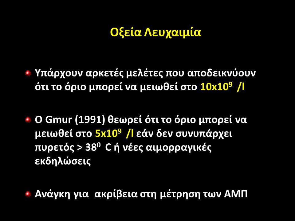 Οξεία Λευχαιμία Υπάρχουν αρκετές μελέτες που αποδεικνύουν ότι το όριο μπορεί να μειωθεί στο 10x10 9 /l Ο Gmur (1991) θεωρεί ότι το όριο μπορεί να μειωθεί στο 5x10 9 /l εάν δεν συνυπάρχει πυρετός > 38 0 C ή νέες αιμορραγικές εκδηλώσεις Ανάγκη για ακρίβεια στη μέτρηση των ΑΜΠ