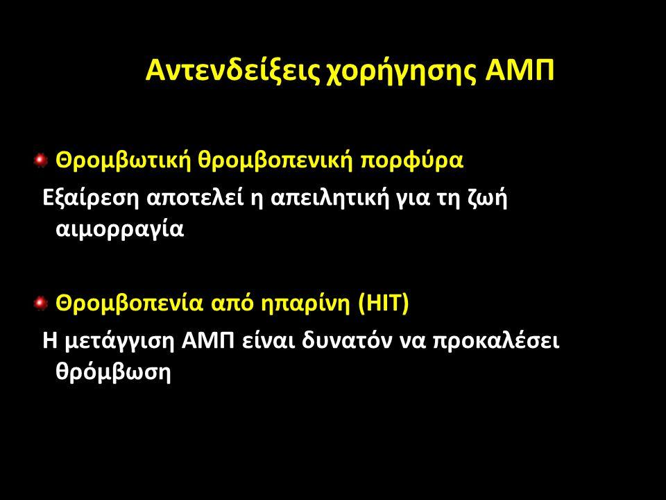 Αντενδείξεις χορήγησης Αντενδείξεις χορήγησης ΑΜΠ Θρομβωτική θρομβοπενική πορφύρα Εξαίρεση αποτελεί η απειλητική για τη ζωή αιμορραγία Θρομβοπενία από ηπαρίνη (HIT) Η μετάγγιση ΑΜΠ είναι δυνατόν να προκαλέσει θρόμβωση