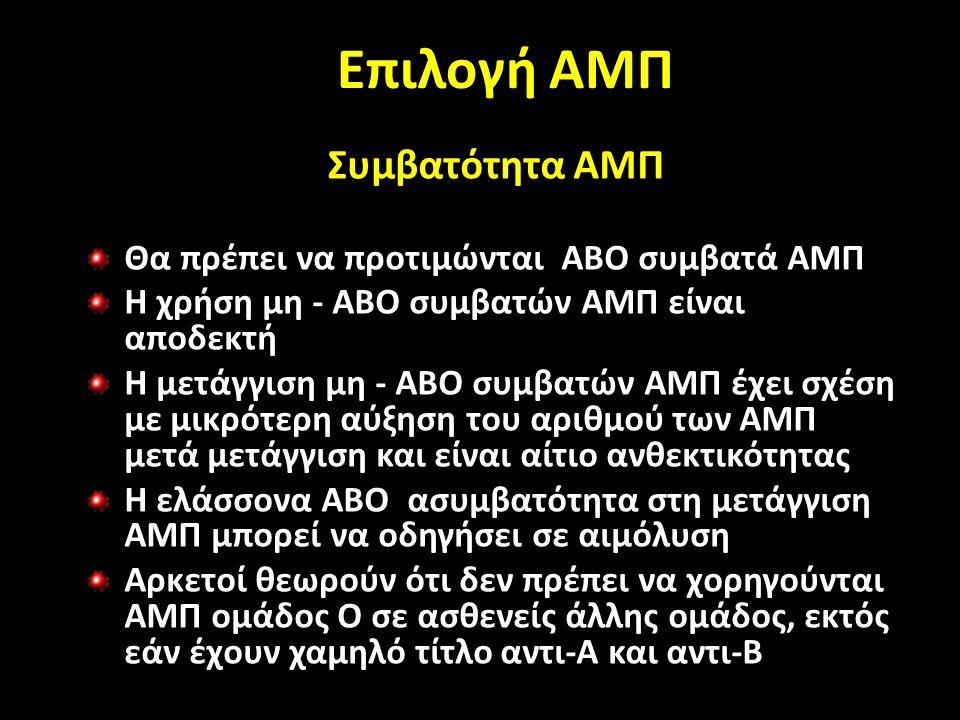 Επιλογή ΑΜΠ Συμβατότητα ΑΜΠ Θα πρέπει να προτιμώνται ΑΒΟ συμβατά ΑΜΠ Η χρήση μη - ΑΒΟ συμβατών ΑΜΠ είναι αποδεκτή Η μετάγγιση μη - ΑΒΟ συμβατών ΑΜΠ έχει σχέση με μικρότερη αύξηση του αριθμού των ΑΜΠ μετά μετάγγιση και είναι αίτιο ανθεκτικότητας Η ελάσσονα ΑΒΟ ασυμβατότητα στη μετάγγιση ΑΜΠ μπορεί να οδηγήσει σε αιμόλυση Αρκετοί θεωρούν ότι δεν πρέπει να χορηγούνται ΑΜΠ ομάδος Ο σε ασθενείς άλλης ομάδος, εκτός εάν έχουν χαμηλό τίτλο αντι-Α και αντι-Β