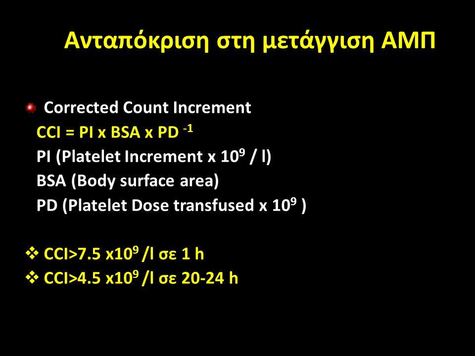 Ανταπόκριση στη μετάγγιση ΑΜΠ Corrected Count Increment CCI = PI x BSA x PD -1 PI (Platelet Increment x 10 9 / l) BSA (Body surface area) PD (Platelet Dose transfused x 10 9 )  CCI>7.5 x10 9 /l σε 1 h  CCI>4.5 x10 9 /l σε 20-24 h