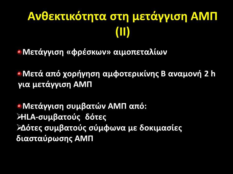Ανθεκτικότητα στη μετάγγιση ΑΜΠ (ΙΙ) Μετάγγιση «φρέσκων» αιμοπεταλίων Μετά από χορήγηση αμφοτερικίνης Β αναμονή 2 h για μετάγγιση ΑΜΠ Μετάγγιση συμβατών ΑΜΠ από:  HLA-συμβατούς δότες  Δότες συμβατούς σύμφωνα με δοκιμασίες διασταύρωσης ΑΜΠ