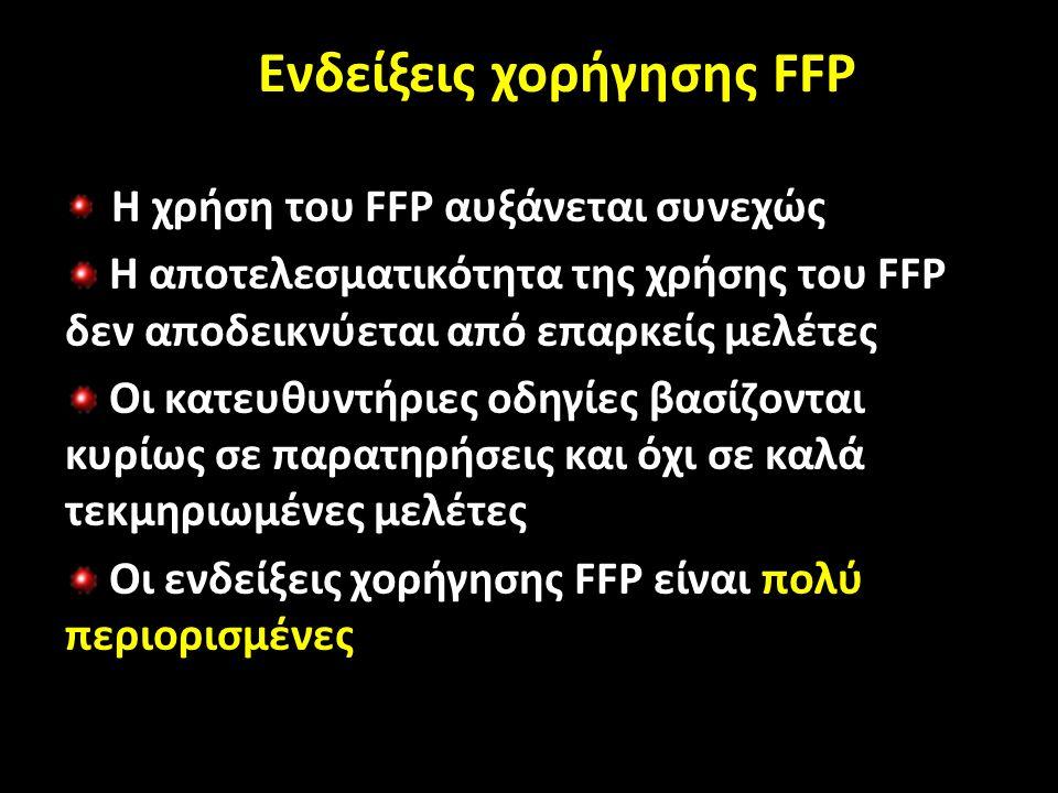 Ενδείξεις χορήγησης Ενδείξεις χορήγησης FFP Η χρήση του FFP αυξάνεται συνεχώς Η αποτελεσματικότητα της χρήσης του FFP δεν αποδεικνύεται από επαρκείς μελέτες Οι κατευθυντήριες οδηγίες βασίζονται κυρίως σε παρατηρήσεις και όχι σε καλά τεκμηριωμένες μελέτες Οι ενδείξεις χορήγησης FFP είναι πολύ περιορισμένες