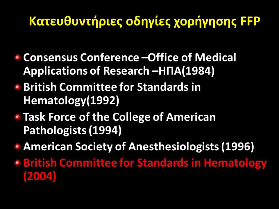 Κατευθυντήριες οδηγίες χορήγησης FFP Consensus Conference –Office of Medical Applications of Research –ΗΠΑ(1984) British Committee for Standards in Hematology(1992) Task Force of the College of American Pathologists (1994) American Society of Anesthesiologists (1996) British Committee for Standards in Hematology (2004)