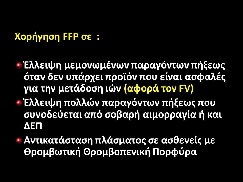 Χορήγηση FFP σε : Έλλειψη μεμονωμένων παραγόντων πήξεως όταν δεν υπάρχει προϊόν που είναι ασφαλές για την μετάδοση ιών (αφορά τον FV) Έλλειψη πολλών παραγόντων πήξεως που συνοδεύεται από σοβαρή αιμορραγία ή και ΔΕΠ Αντικατάσταση πλάσματος σε ασθενείς με Θρομβωτική Θρομβοπενική Πορφύρα