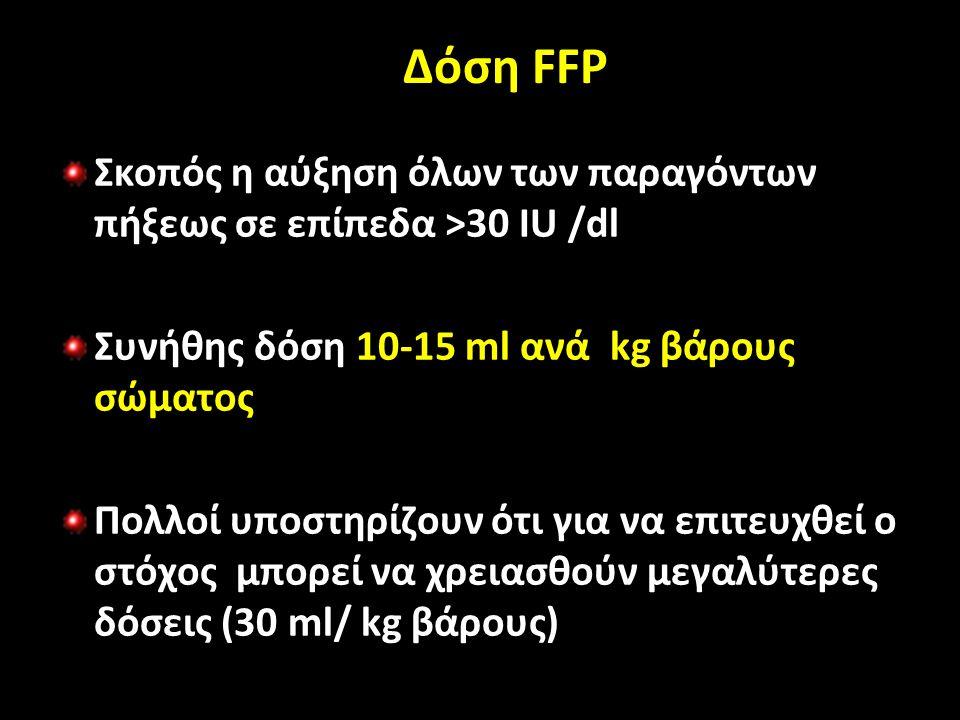 Δόση FFP Σκοπός η αύξηση όλων των παραγόντων πήξεως σε επίπεδα >30 IU /dl Συνήθης δόση 10-15 ml ανά kg βάρους σώματος Πολλοί υποστηρίζουν ότι για να επιτευχθεί ο στόχος μπορεί να χρειασθούν μεγαλύτερες δόσεις (30 ml/ kg βάρους)