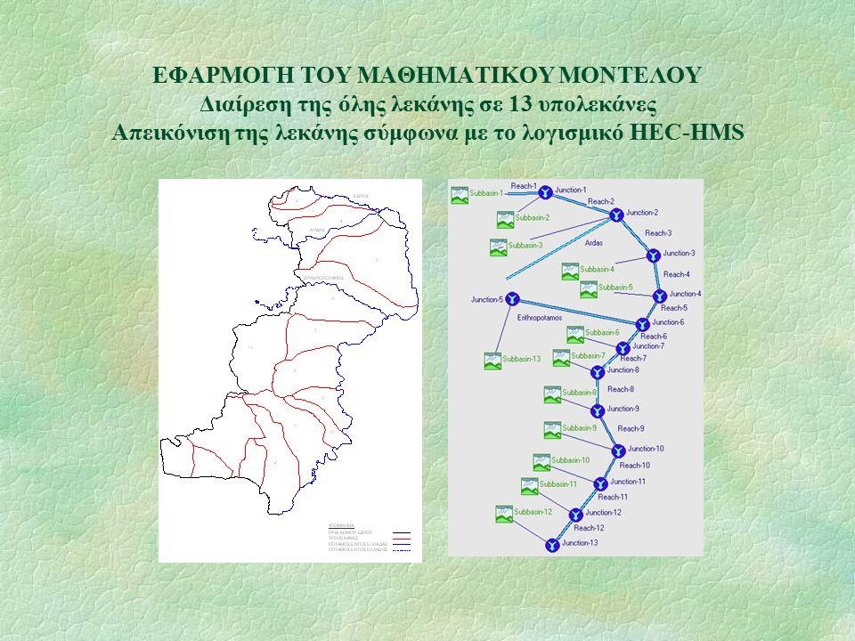 ΕΦΑΡΜΟΓΗ ΤΟΥ ΜΑΘΗΜΑΤΙΚΟΥ ΜΟΝΤΕΛΟΥ Διαίρεση της όλης λεκάνης σε 13 υπολεκάνες Απεικόνιση της λεκάνης σύμφωνα με το λογισμικό HEC-HMS