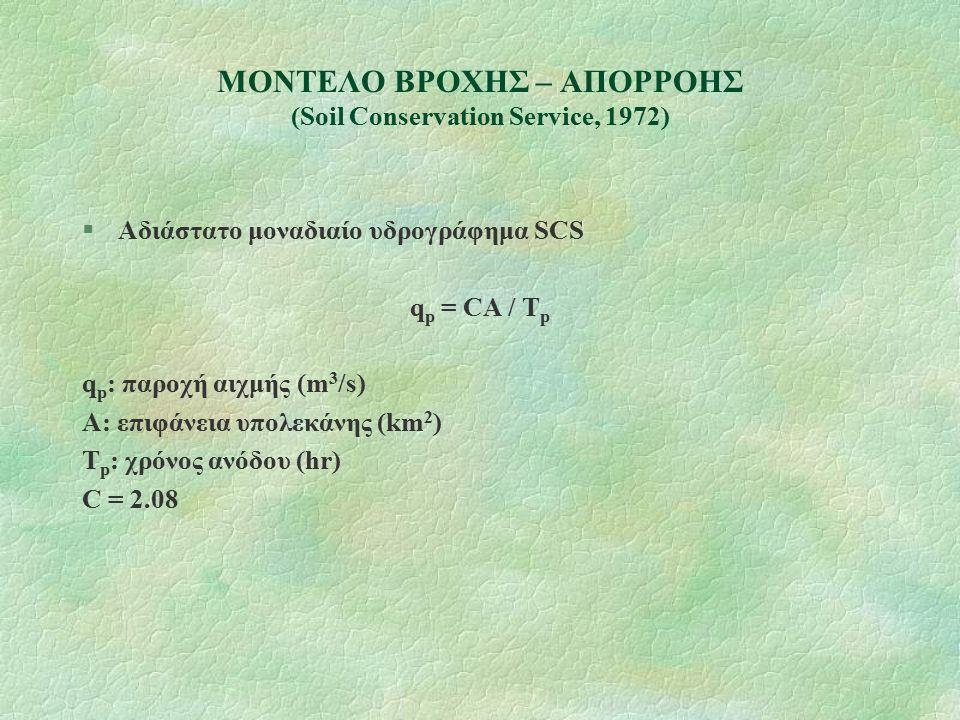 ΜΟΝΤΕΛΟ ΒΡΟΧΗΣ – ΑΠΟΡΡΟΗΣ (Soil Conservation Service, 1972) §Αδιάστατο μοναδιαίο υδρογράφημα SCS q p = CA / T p q p : παροχή αιχμής (m 3 /s) A: επιφάνεια υπολεκάνης (km 2 ) T p : χρόνος ανόδου (hr) C = 2.08