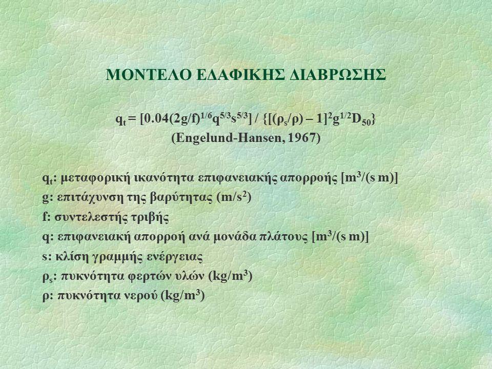 ΜΟΝΤΕΛΟ ΕΔΑΦΙΚΗΣ ΔΙΑΒΡΩΣΗΣ q t = [0.04(2g/f) 1/6 q 5/3 s 5/3 ] / {[(ρ s /ρ) – 1] 2 g 1/2 D 50 } (Engelund-Hansen, 1967) q t : μεταφορική ικανότητα επιφανειακής απορροής [m 3 /(s m)] g: επιτάχυνση της βαρύτητας (m/s 2 ) f: συντελεστής τριβής q: επιφανειακή απορροή ανά μονάδα πλάτους [m 3 /(s m)] s: κλίση γραμμής ενέργειας ρ s : πυκνότητα φερτών υλών (kg/m 3 ) ρ: πυκνότητα νερού (kg/m 3 )