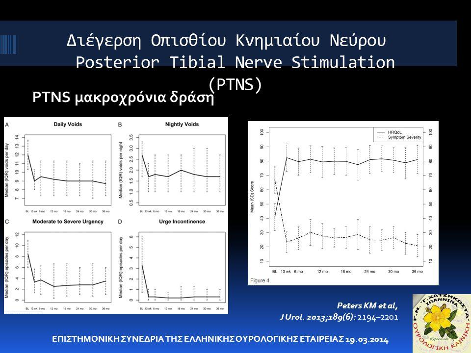 Διέγερση Οπισθίου Κνημιαίου Νεύρου Posterior Tibial Nerve Stimulation (PTNS) PTNS μακροχρόνια δράση ΕΠΙΣΤΗΜΟΝΙΚΗ ΣΥΝΕΔΡΙΑ ΤΗΣ ΕΛΛΗΝΙΚΗΣ ΟΥΡΟΛΟΓΙΚΗΣ ΕΤ
