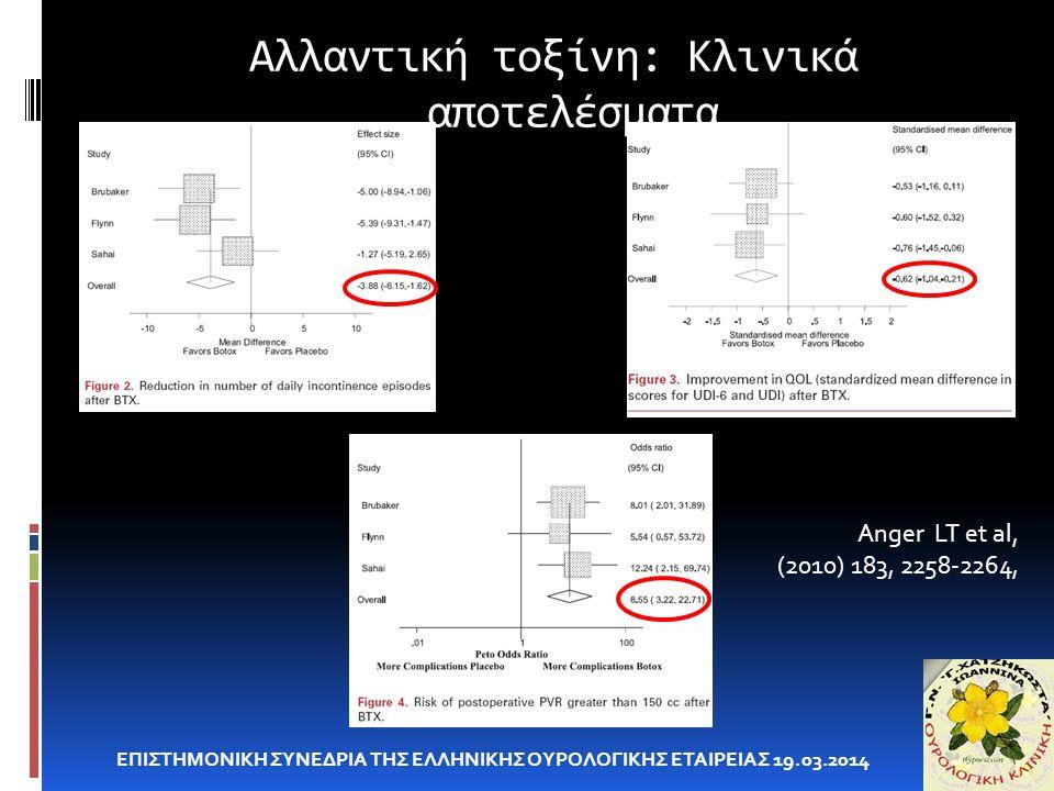 Αλλαντική τοξίνη: Κλινικά αποτελέσματα ΕΠΙΣΤΗΜΟΝΙΚΗ ΣΥΝΕΔΡΙΑ ΤΗΣ ΕΛΛΗΝΙΚΗΣ ΟΥΡΟΛΟΓΙΚΗΣ ΕΤΑΙΡΕΙΑΣ 19.03.2014 Anger LT et al, (2010) 183, 2258-2264,