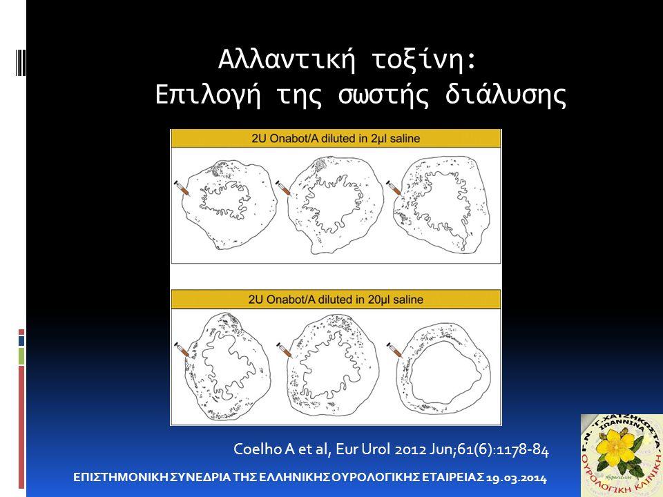 Αλλαντική τοξίνη: Επιλογή της σωστής διάλυσης ΕΠΙΣΤΗΜΟΝΙΚΗ ΣΥΝΕΔΡΙΑ ΤΗΣ ΕΛΛΗΝΙΚΗΣ ΟΥΡΟΛΟΓΙΚΗΣ ΕΤΑΙΡΕΙΑΣ 19.03.2014 Coelho A et al, Eur Urol 2012 Jun;61(6):1178-84