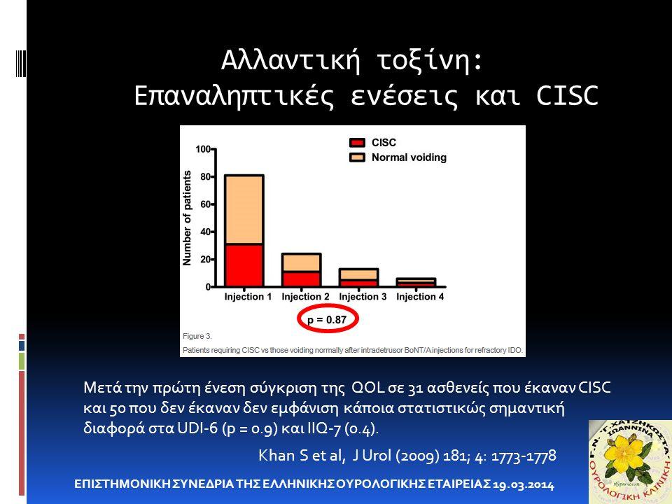 Αλλαντική τοξίνη: Επαναληπτικές ενέσεις και CISC ΕΠΙΣΤΗΜΟΝΙΚΗ ΣΥΝΕΔΡΙΑ ΤΗΣ ΕΛΛΗΝΙΚΗΣ ΟΥΡΟΛΟΓΙΚΗΣ ΕΤΑΙΡΕΙΑΣ 19.03.2014 Khan S et al, J Urol (2009) 181; 4: 1773-1778 Μετά την πρώτη ένεση σύγκριση της QOL σε 31 ασθενείς που έκαναν CISC και 50 που δεν έκαναν δεν εμφάνιση κάποια στατιστικώς σημαντική διαφορά στα UDI-6 (p = 0.9) και IIQ-7 (0.4).