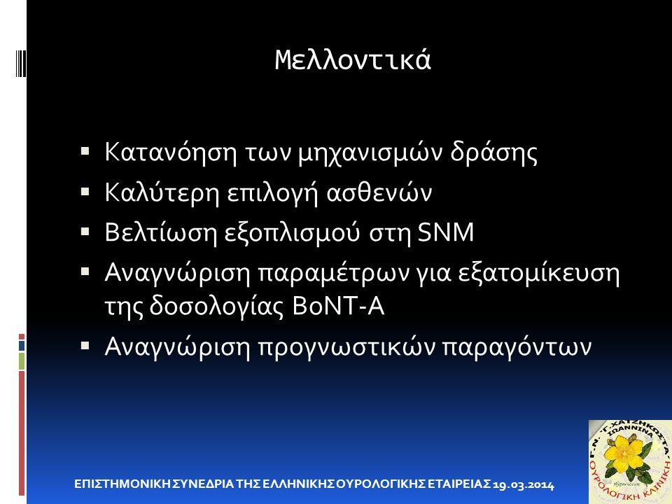 Μελλοντικά ΕΠΙΣΤΗΜΟΝΙΚΗ ΣΥΝΕΔΡΙΑ ΤΗΣ ΕΛΛΗΝΙΚΗΣ ΟΥΡΟΛΟΓΙΚΗΣ ΕΤΑΙΡΕΙΑΣ 19.03.2014  Κατανόηση των μηχανισμών δράσης  Καλύτερη επιλογή ασθενών  Βελτίωσ
