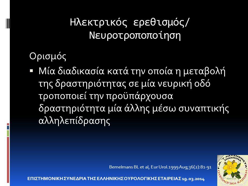 Ηλεκτρικός ερεθισμός/ Νευροτροποποίηση ΕΠΙΣΤΗΜΟΝΙΚΗ ΣΥΝΕΔΡΙΑ ΤΗΣ ΕΛΛΗΝΙΚΗΣ ΟΥΡΟΛΟΓΙΚΗΣ ΕΤΑΙΡΕΙΑΣ 19.03.2014 Bemelmans BL et al, Eur Urol.1999 Aug;36(2):81-91 Ορισμός  Μία διαδικασία κατά την οποία η μεταβολή της δραστηριότητας σε μία νευρική οδό τροποποιεί την προϋπάρχουσα δραστηριότητα μία άλλης μέσω συναπτικής αλληλεπίδρασης