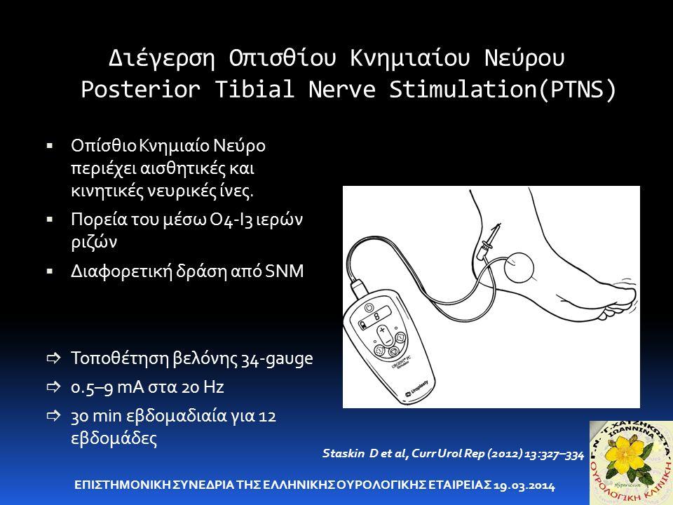Διέγερση Οπισθίου Κνημιαίου Νεύρου Posterior Tibial Nerve Stimulation(PTNS)  Οπίσθιο Κνημιαίο Νεύρο περιέχει αισθητικές και κινητικές νευρικές ίνες.
