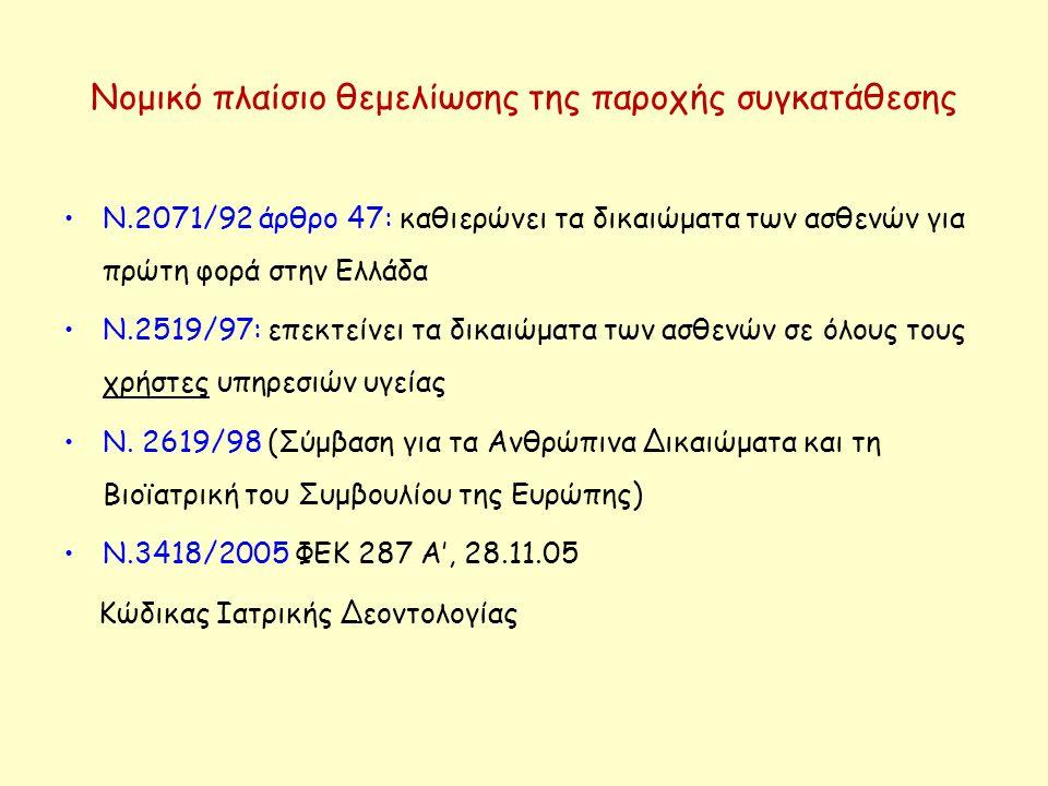 Νομικό πλαίσιο θεμελίωσης της παροχής συγκατάθεσης Ν.2071/92 άρθρο 47: καθιερώνει τα δικαιώματα των ασθενών για πρώτη φορά στην Ελλάδα Ν.2519/97: επεκ