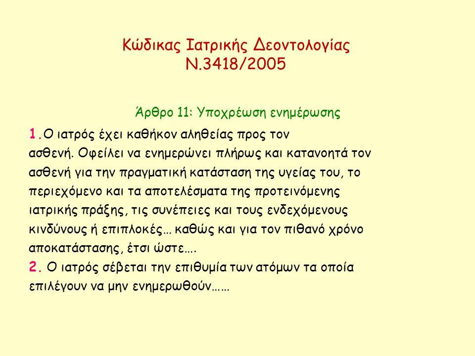 Κώδικας Ιατρικής Δεοντολογίας Ν.3418/2005 Άρθρο 11: Υποχρέωση ενημέρωσης 1.Ο ιατρός έχει καθήκον αληθείας προς τον ασθενή. Οφείλει να ενημερώνει πλήρω