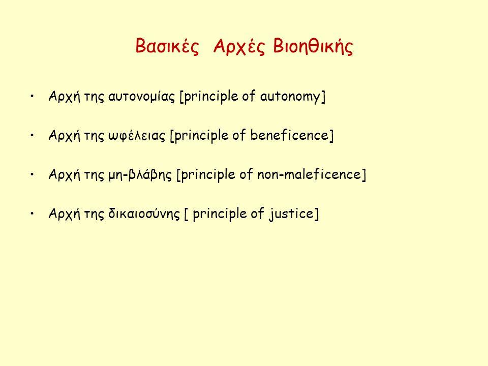 Βασικές Αρχές Βιοηθικής Αρχή της αυτονομίας [principle of autonomy] Αρχή της ωφέλειας [principle of beneficence] Αρχή της μη-βλάβης [principle of non-