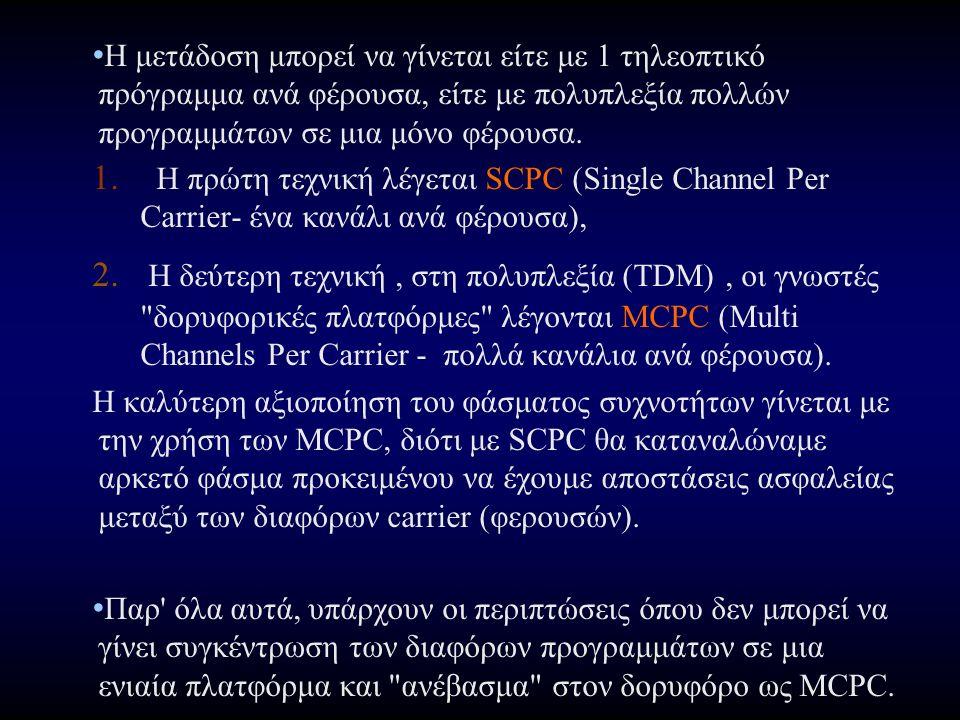 Η μετάδοση μπορεί να γίνεται είτε με 1 τηλεοπτικό πρόγραμμα ανά φέρουσα, είτε με πολυπλεξία πολλών προγραμμάτων σε μια μόνο φέρουσα.