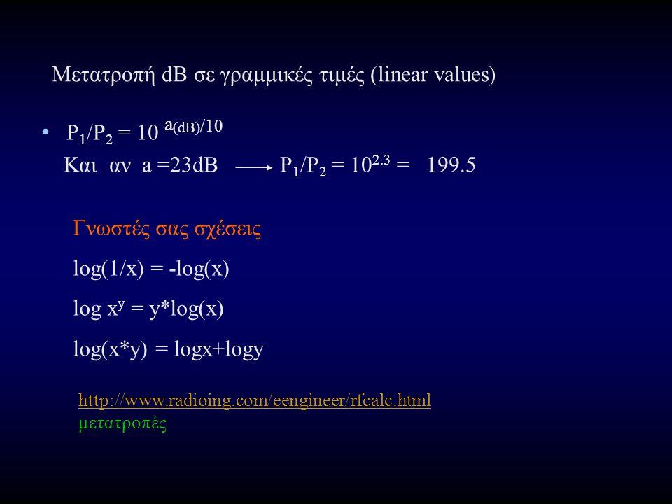 P 1 /P 2 = 10 a (dB) /10 Και αν a =23dB P 1 /P 2 = 10 2.3 = 199.5 Γνωστές σας σχέσεις log(1/x) = -log(x) log x y = y*log(x) log(x*y) = logx+logy http://www.radioing.com/eengineer/rfcalc.html http://www.radioing.com/eengineer/rfcalc.html μετατροπές Μετατροπή dB σε γραμμικές τιμές (linear values)