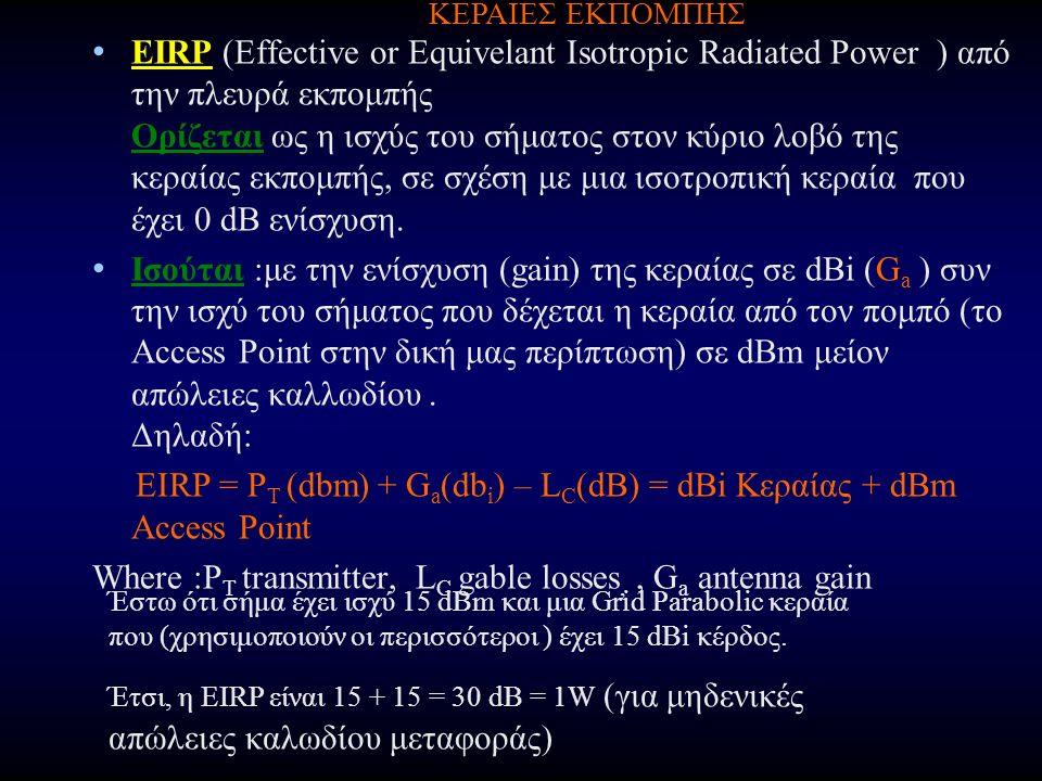 EIRP (Effective or Equivelant Isotropic Radiated Power ) από την πλευρά εκπομπής Ορίζεται ως η ισχύς του σήματος στον κύριο λοβό της κεραίας εκπομπής, σε σχέση με μια ισοτροπική κεραία που έχει 0 dB ενίσχυση.