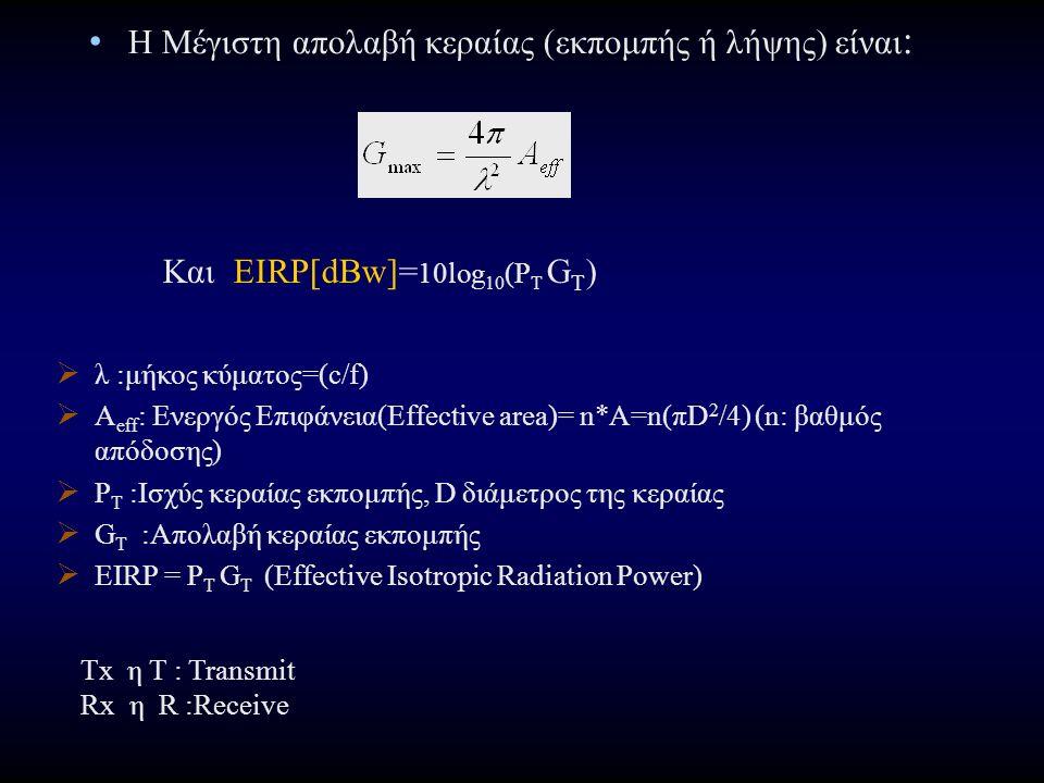 Η Μέγιστη απολαβή κεραίας (εκπομπής ή λήψης) είναι : Kαι EIRP[dBw]= 10log 10 (P T G T )  λ :μήκος κύματος=(c/f)  Α eff : Ενεργός Επιφάνεια(Effective area)= n*A=n(πD 2 /4) (n: βαθμός απόδοσης)  P T :Ισχύς κεραίας εκπομπής, D διάμετρος της κεραίας  G T :Απολαβή κεραίας εκπομπής  EIRP = P T G T (Effective Isotropic Radiation Power) Τx η T : Transmit Rx η R :Receive