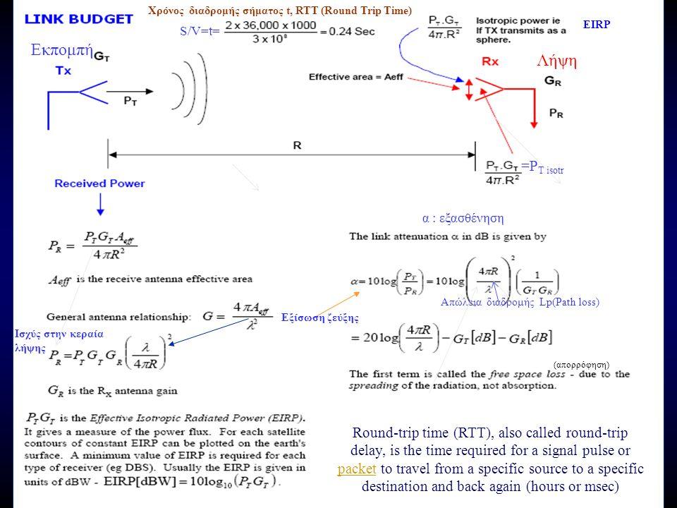 Ισχύς στην κεραία λήψης S/V=t= =P T isotr (απορρόφηση) α : εξασθένηση Εξίσωση ζεύξης Απώλεια διαδρομής Lp(Path loss) Χρόνος διαδρομής σήματος t, RTT (