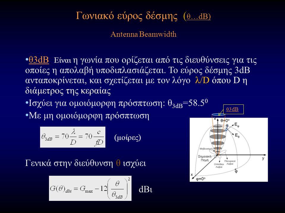 Γωνιακό εύρος δέσμης ( θ…dB) Antenna Beamwidth (μοίρες) θ3dB Είναι η γωνία που ορίζεται από τις διευθύνσεις για τις οποίες η απολαβή υποδιπλασιάζεται.