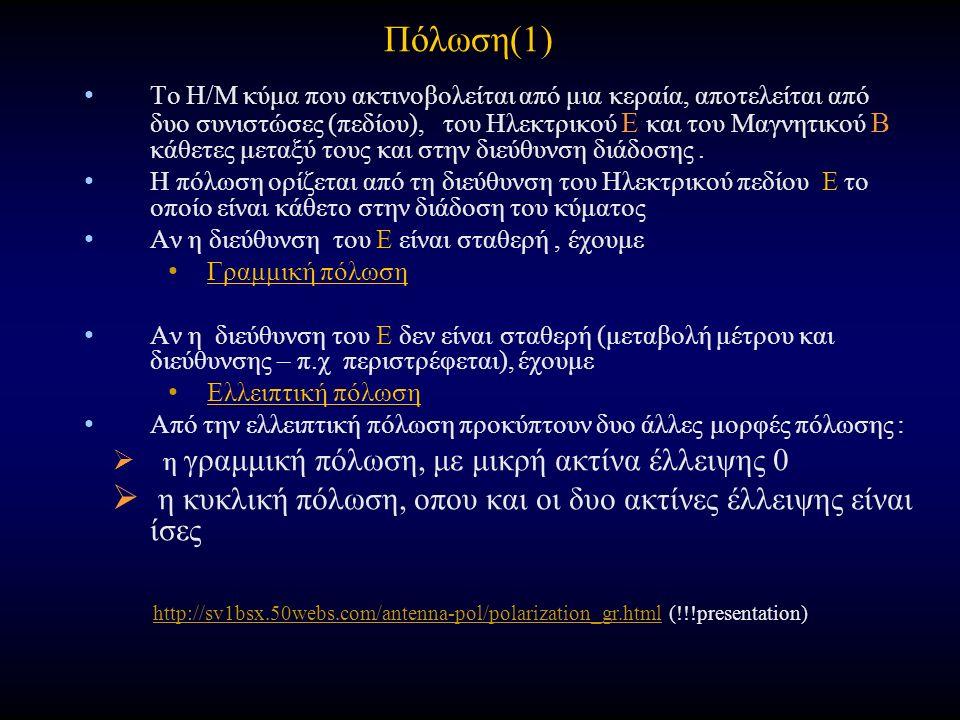 Πόλωση(1) Το Η/Μ κύμα που ακτινοβολείται από μια κεραία, αποτελείται από δυο συνιστώσες (πεδίου), του Ηλεκτρικού Ε και του Μαγνητικού Β κάθετες μεταξύ τους και στην διεύθυνση διάδοσης.
