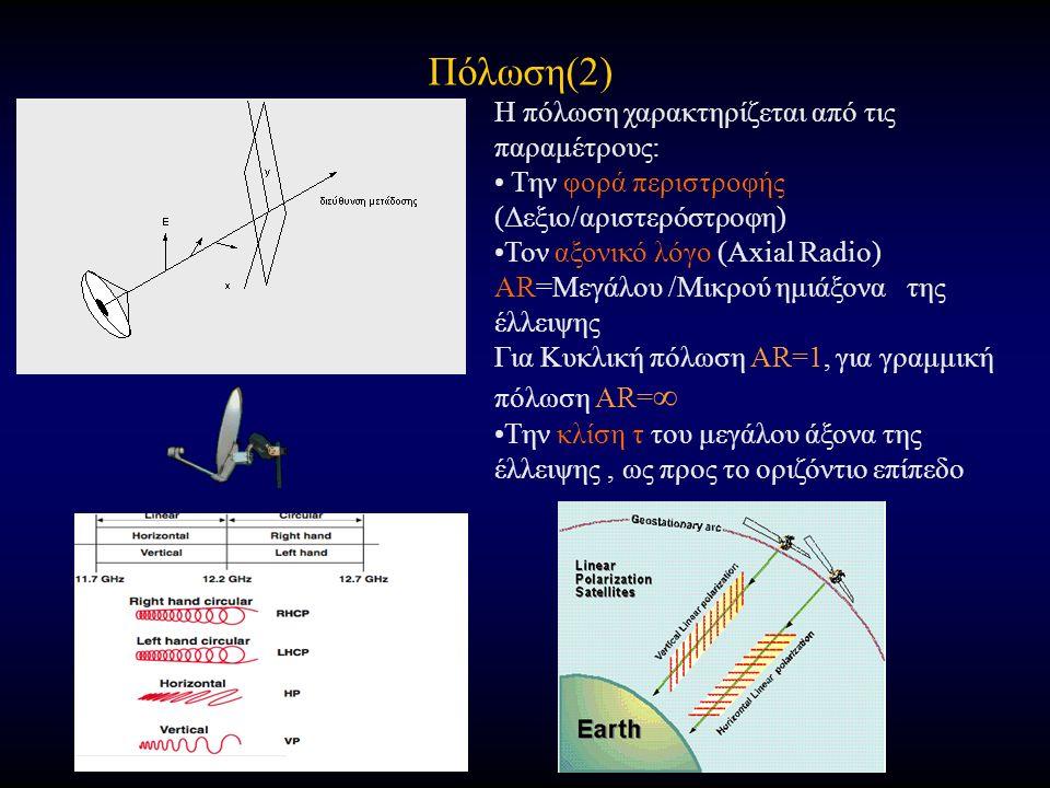 Πόλωση(2) Η πόλωση χαρακτηρίζεται από τις παραμέτρους: Την φορά περιστροφής (Δεξιο/αριστερόστροφη) Τον αξονικό λόγο (Axial Radio) AR=Μεγάλου /Μικρού ημιάξονα της έλλειψης Για Κυκλική πόλωση AR=1, για γραμμική πόλωση AR= ∞ Την κλίση τ του μεγάλου άξονα της έλλειψης, ως προς το οριζόντιο επίπεδο